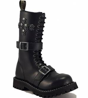 Steel Boots 15 Eyelets Black With Skulls