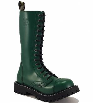 Steel Boots 15 Eyelets Green