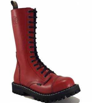 Steel Boots 15 Eyelets Red