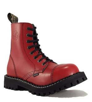 Steel Boots 8 Eyelets Red