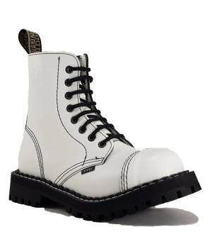 Steel Boots 8 Eyelets White