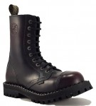 Steel Boots 10 Eyelets Burgundy Rub Off