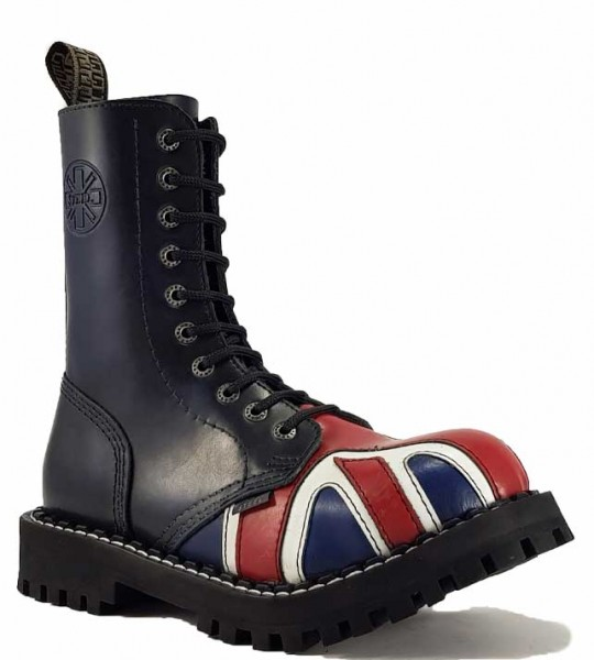 Steel Boots 10 Eyelets British Flag