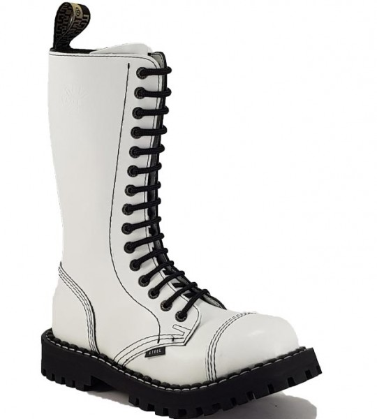 Steel Boots 15 Eyelets White