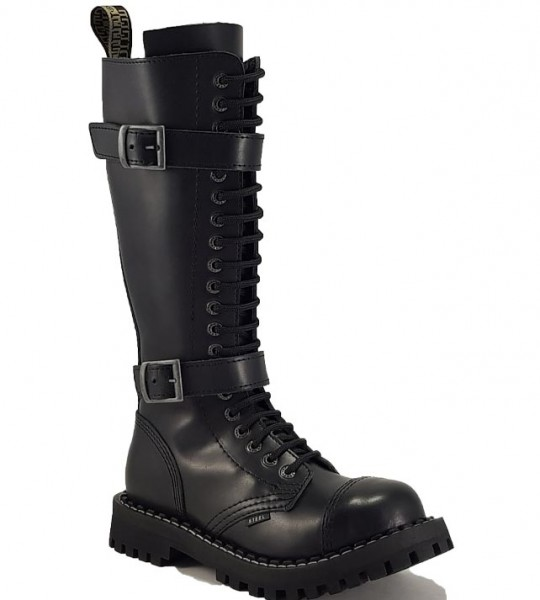 Steel Boots 20 Eyelets Black With 2 Buckles ZIP