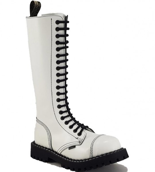 Steel Boots 20 Eyelets White