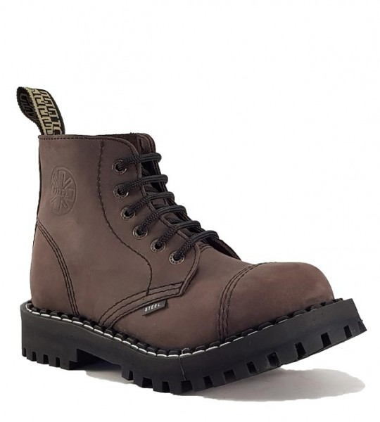 Steel Boots 6 Eyelets Brown