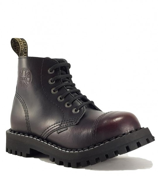 Steel Boots 6 Eyelets Burgundy Rub Off