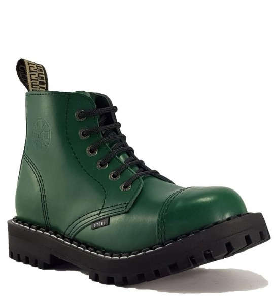 Steel Boots 6 Eyelets Green