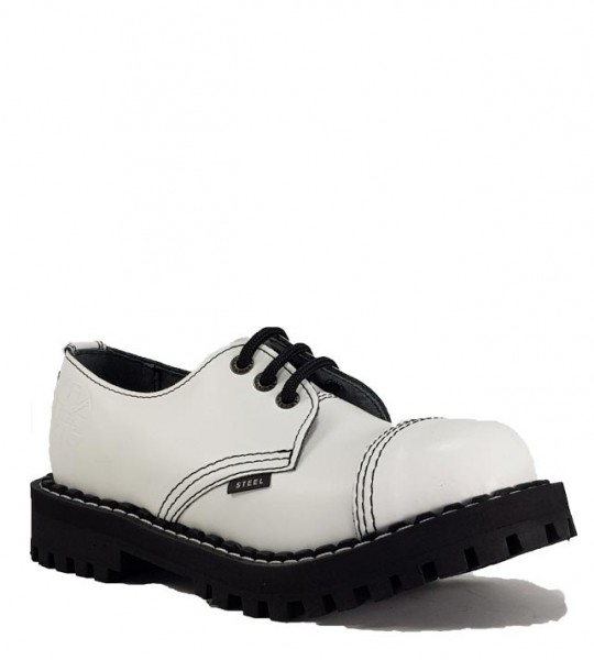 Steel Shoes 3 Eyelets White