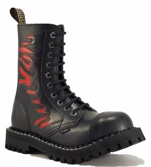 Steel Boots 10 Eyelets Flames