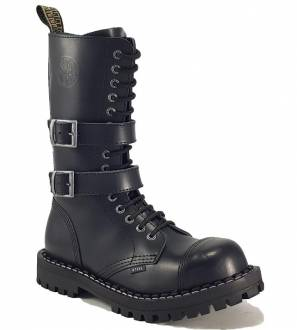 Steel Boots 15 Eyelets Black 2 Buckles ZIP