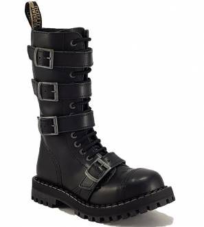 Steel Boots 15 Eyelets Black 4 Buckles Zip