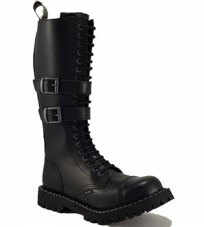 Steel Boots 20 Eyelets Black 2 Buckles Zip