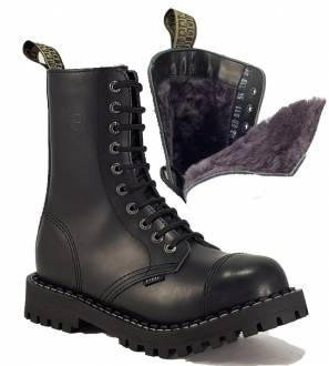 Steel Boots 10 Eyelets Black Warm