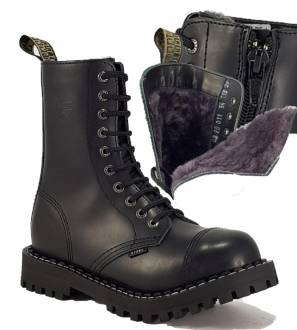 Steel Boots 10 Eyelets Black Warm With Zip