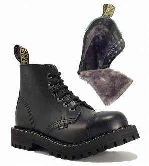 Steel Boots 6 Eyelets Black Warm